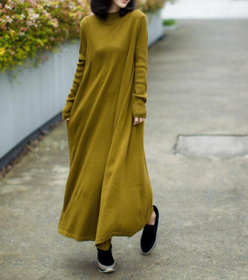Solid color Long Maxi dresses Loose knitted dress Long   Etsy