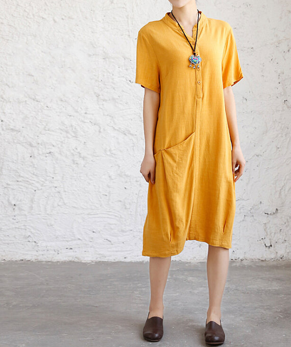 Loose fitting cotton linen dress Women Short sleeve by MaLieb
