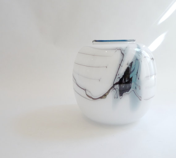 Danish Modern Art Glass Ball Vase Holmegaard by mascarajones