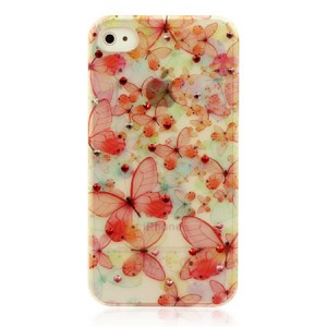 Original Colored Diamond Butterfly Phone Case For IPhone 4/4S