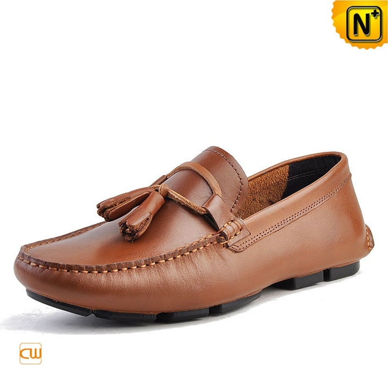 Mens Tasseled Leather Penny Loafers CW740315