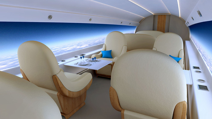 Supersonic Jet with Screens Instead of Windows Halves Journey Time