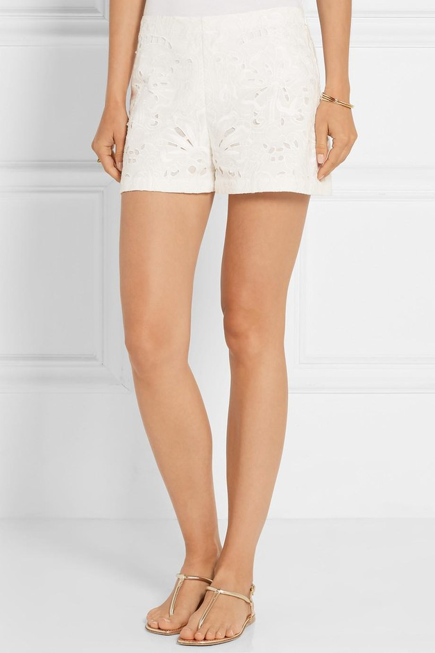 Theory   Micro E broderie anglaise linen and cotton-blend shorts   NET-A-PORTER.COM