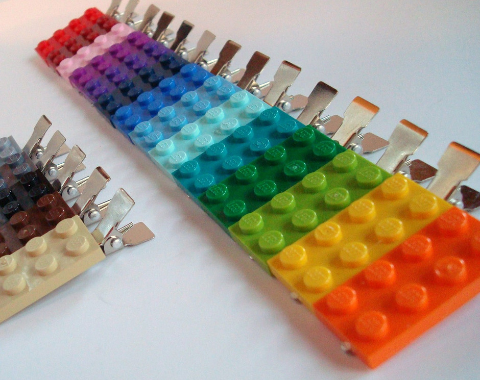 Hair Clips made with Lego r plate your choice of by MissCourageous