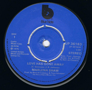 MARLENA SHAW Love Has Gone Away 7 Single Vinyl Record 45rpm Blue Note 1976