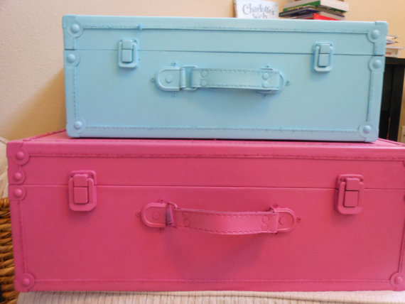 JEZ4U Vintage Stack of two Suitcases that are Pink and by Jez4U