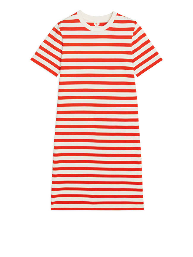 T-shirt Dress - Red/Off White - Dresses - ARKET GB