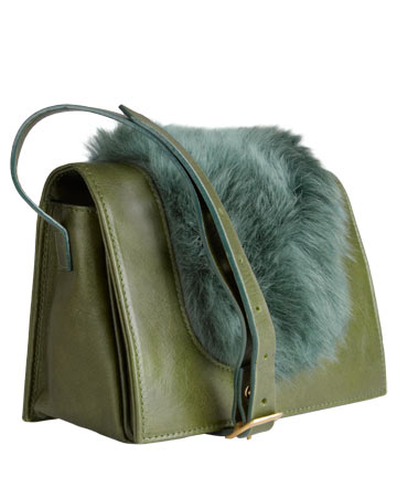 Green Melissa Fur and Leather Cross Body Bag, Jas MB