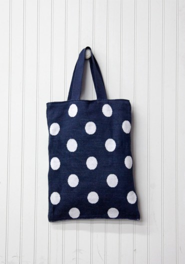 Polka Dot Parody Knitted Bag By Hansel From Basel In Navy