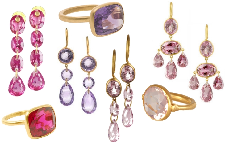 marie helene de taillac pink purple stones earrings rings sumally. Black Bedroom Furniture Sets. Home Design Ideas