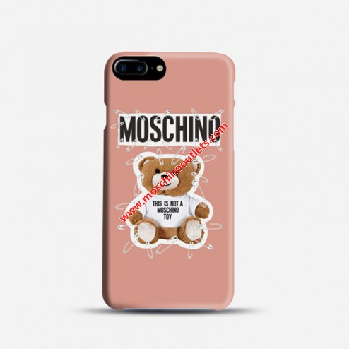Moschino Safety Pin Teddy iPhone Case Pink