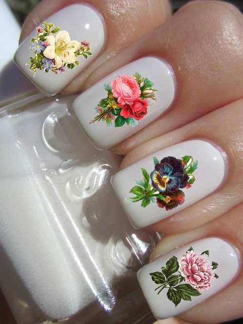 Vintage Flower Nail Decals by PineGalaxy on Etsy