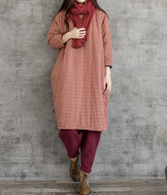 Oversized Loose Fitting Winter dress Cotton linen robes | Etsy