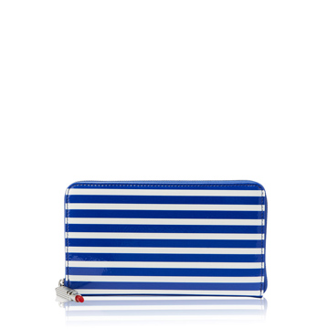 Cobalt and Chalk Stripe Patent Leather Continental Wallet | Purses - Lulu Guinness
