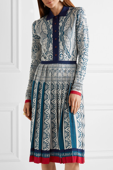 Mary Katrantzou | Briscola pleated metallic jacquard-knit dress | NET-A-PORTER.COM