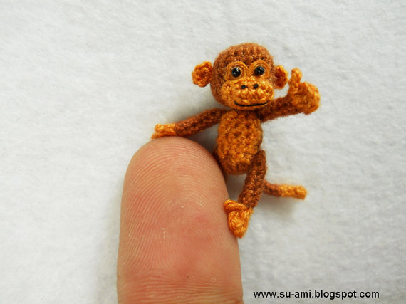 Tiny Miniature Monkey 1 inch Scale Monkey Tiny Brown by suami