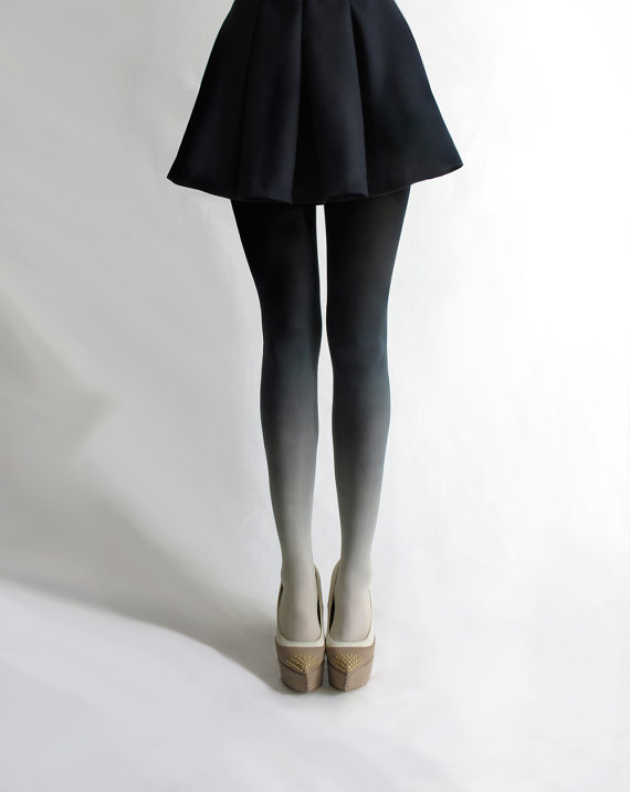 Ombré tights in Coal by BZRBZR on Etsy