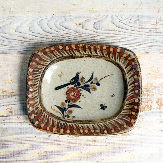Vintage Pottery Bird Dish / Stoneware Wall Plaque by ethanollie