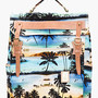 Master-piece Co Blue And Tan Leather Tropical Print Backpack for men | SSENSE