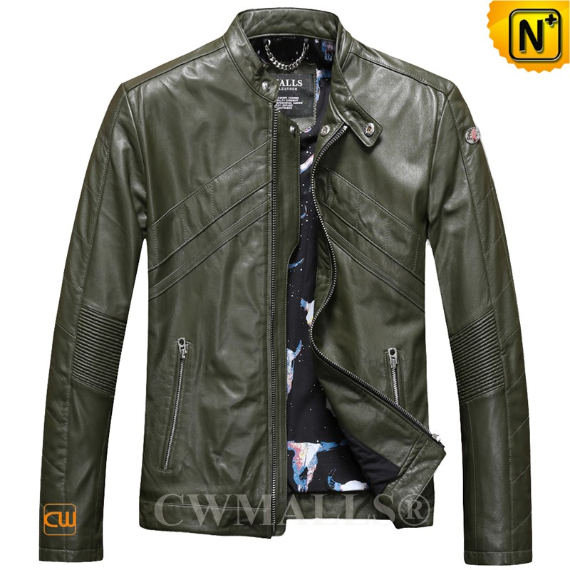 CWMALLS® Mens Washed Leather Moto Jacket CW816101
