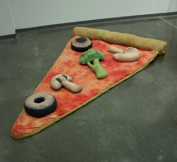 Slice of Pizza Sleeping Bag w/ Veggie Pillows by brookish7 on Etsy