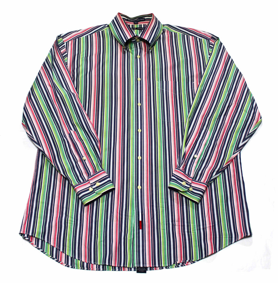 Tommy Hilfiger Navy/Pink/Green Striped Button Down Shirt Mens Sz Large | Vintage Mens Goods