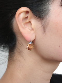 LOVE online store|WOMEN  K10×SV Crystal Earring (brown)