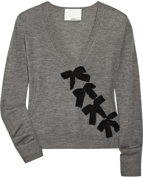 3.1 Phillip Lim Bowembellished Cashmere Cardigan in Gray | Lyst