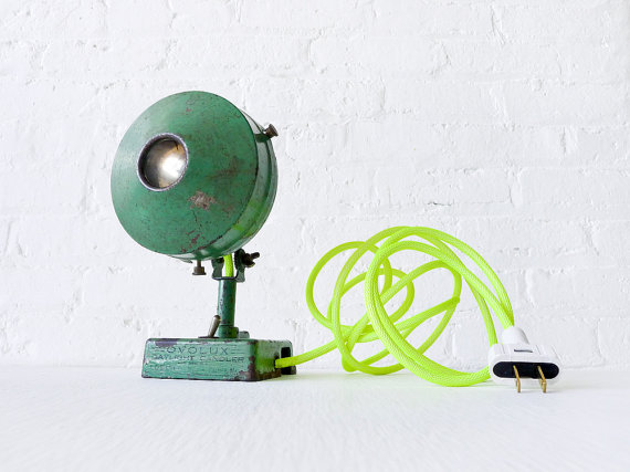 Antique Industrial Green Spotlight Lamp w/ Neon par EarthSeaWarrior