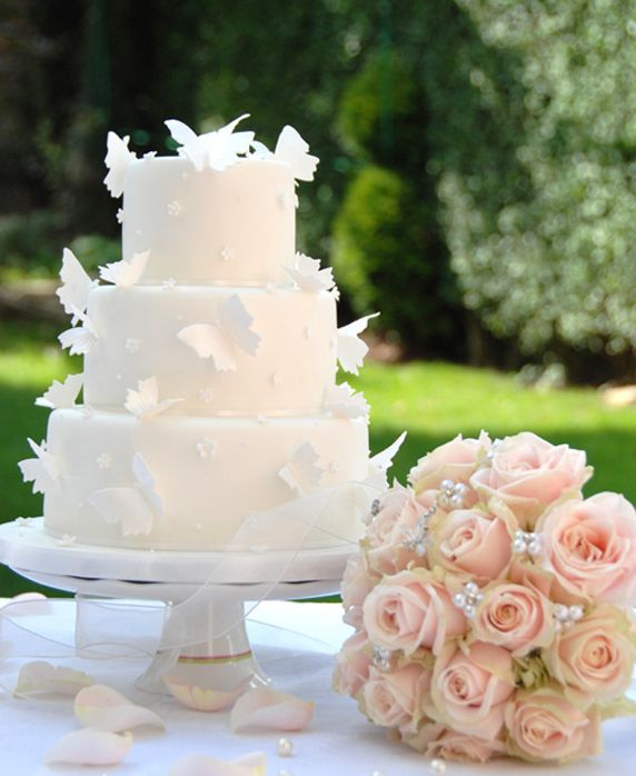 Wedding Cakes / Pale Pink Butterfly Wedding Cake Image