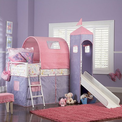 Powell Princess Twin Size Castle Loft Bed with Slide | Wayfair