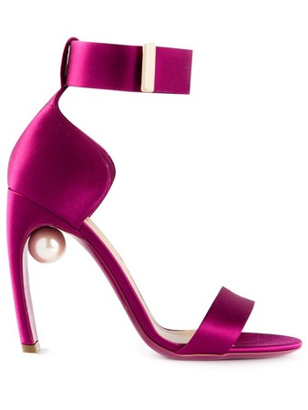 Fuchsia silk 'Maeva' sandals