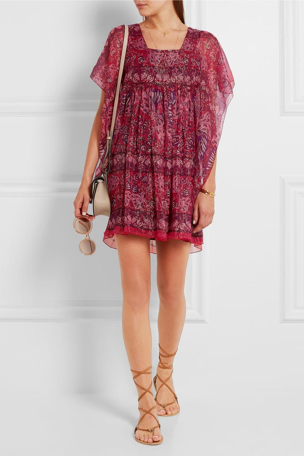 Anna Sui | Lamé-striped printed silk-blend mini dress | NET-A-PORTER.COM