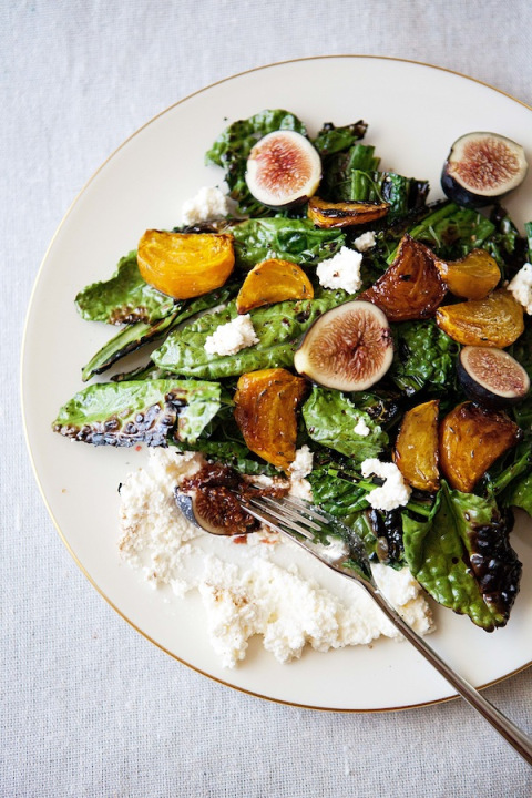 Grilled kale salad with beets, figs, and ricotta « Five And Spice