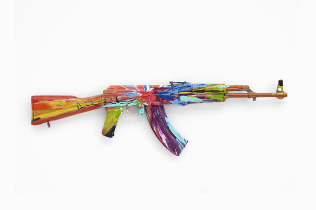 """Damien Hirst's """"Spin AK47 for Peace Day"""" 