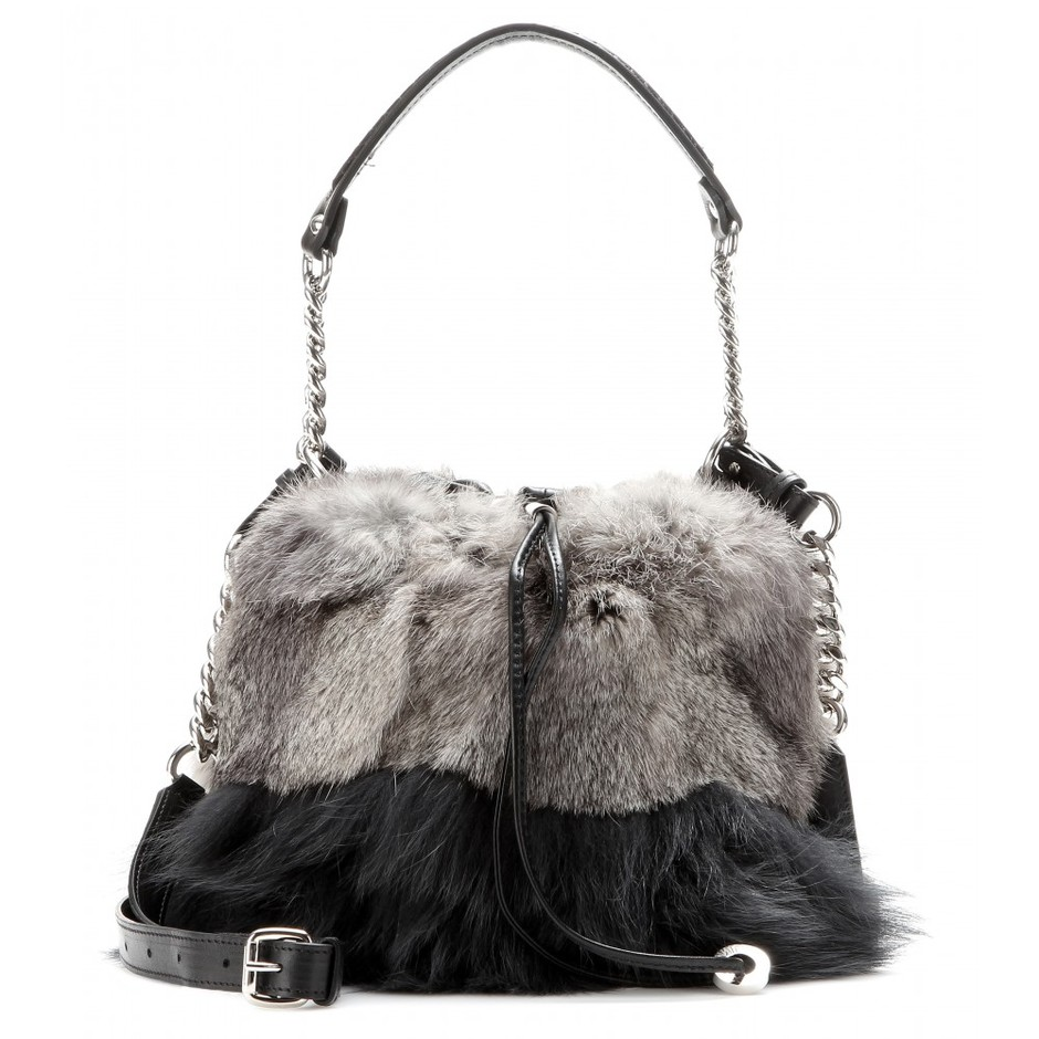 mytheresa.com - Evie fur and leather drawstring bag - Current week - New Arrivals - Luxury Fashion for Women / Designer clothing, shoes, bags