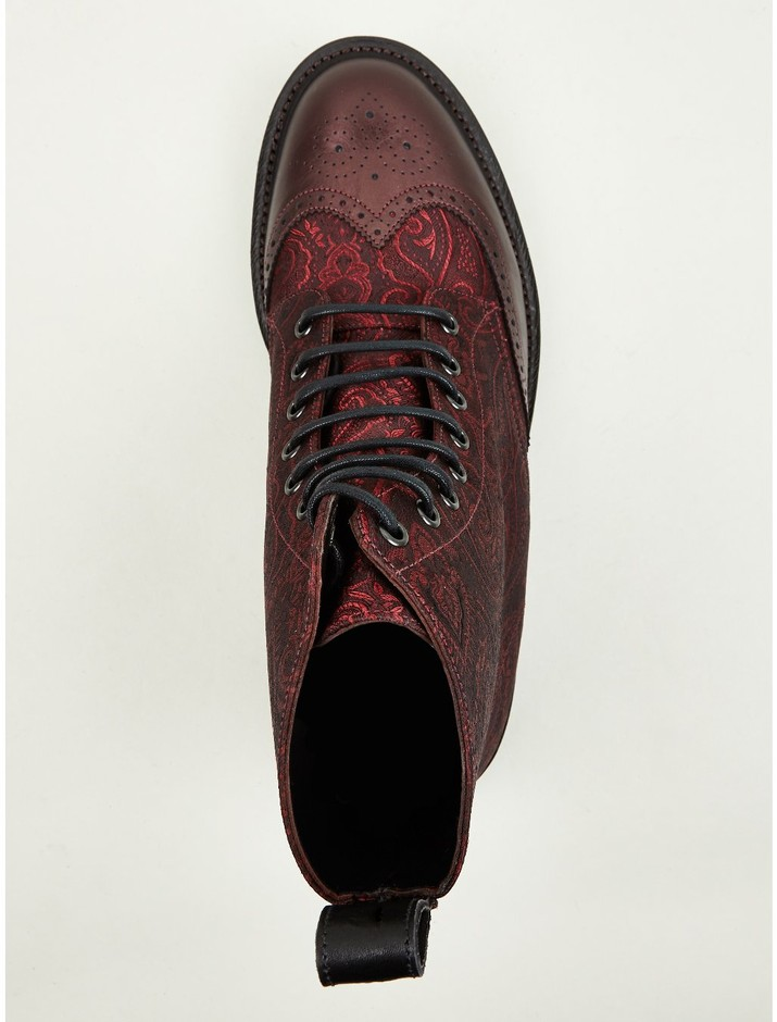 Dr Martens Men's Cherry Red MIE Calder Paisley Silk Boots | oki-ni