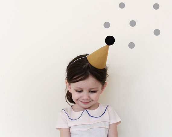 Party Hat linen party hat in mustard small by ColetteBream