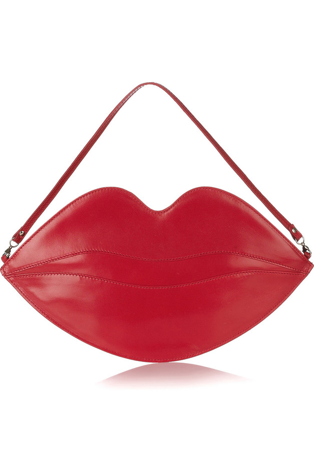 Charlotte Olympia | Big Kiss leather lips clutch | NET-A-PORTER.COM