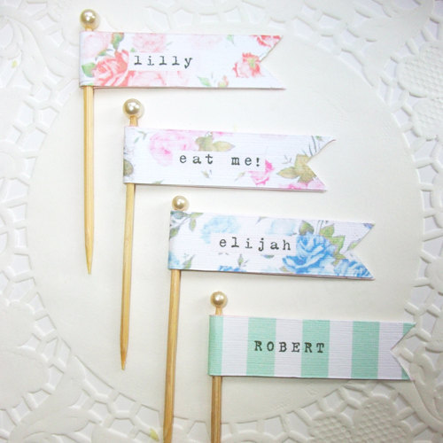 floral vintage flag place cards sumally サマリー
