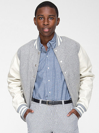 Wool Club Jacket with Leather Sleeves | American Apparel