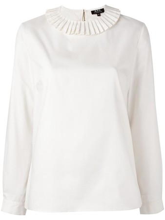 pleated neck loose-fit blouse
