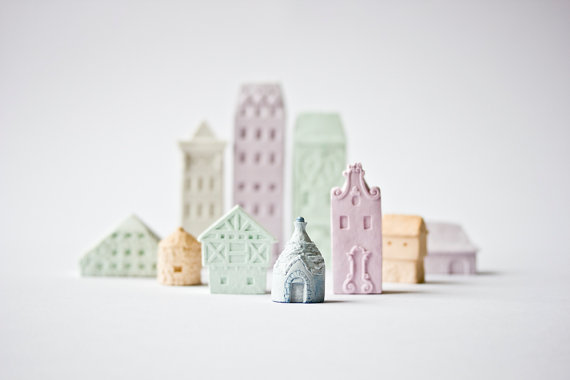 Clay Architecture Set Ceramic clay houses by by ARTISANIEeurope