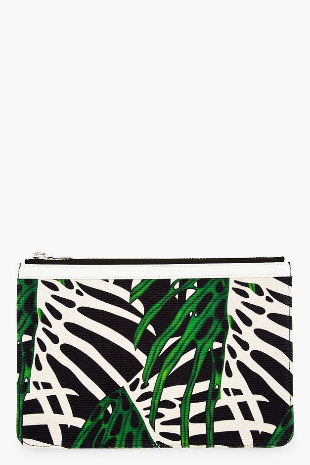 Proenza Schouler Green & Black Canvas Zip Pouch for women | SSENSE
