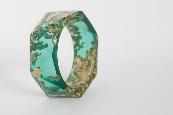 jewel tone green resin bangle made with eco resin by RosellaResin