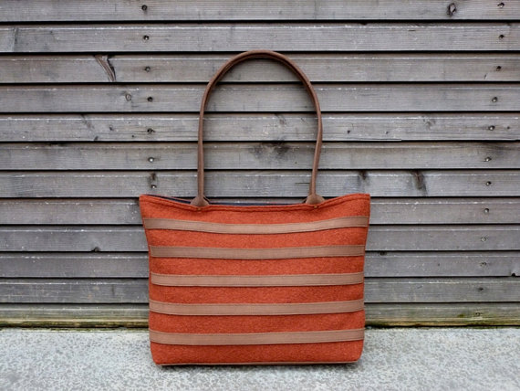 Boiled wool tote bag with waxed leather handles by treesizeverse