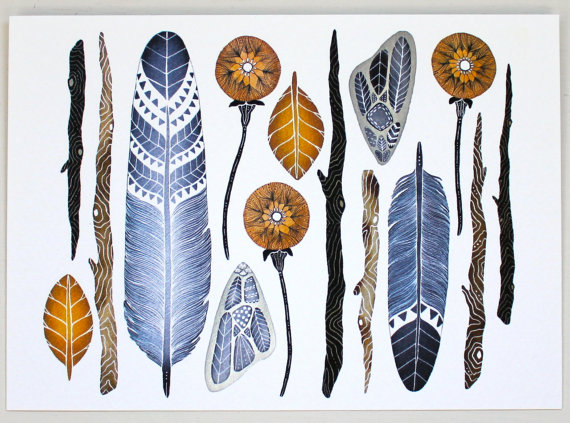 Nature Collection Painting Feather Watercolor Art by RiverLuna