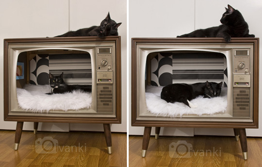 Vintage TV Turned Stylish Cat Bed|moderncat :: cat products, cat toys, cat furniture, and more…all with modern style#comments#comments