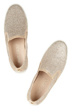 Jimmy Choo | Demi glittered canvas sneakers | NET-A-PORTER.COM
