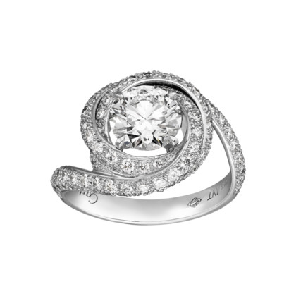Solitaire Ring - Platinum, diamonds. - Fine Engagement Rings for women - Cartier